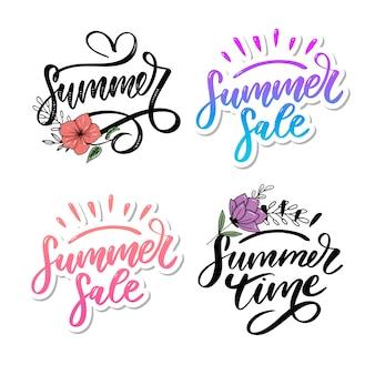 Venda de palavra de vetor. letras de flores e folhas venda de verão férias