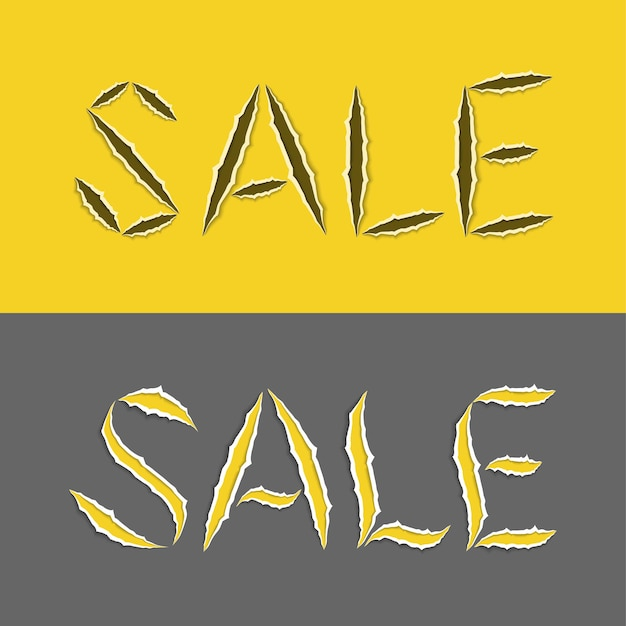 Venda de palavra estilizada realista com bordas irregulares nas cores amarelas e cinza. letras rasgadas. ilustração vetorial.
