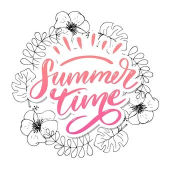 Venda de palavra. letras feitas de flores e folhas horário de verão holiday flyer banner poster vendas de verão