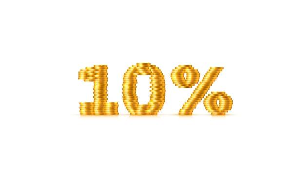 Venda de pilha 10 de moedas fora do sinal de texto. ilustração vetorial