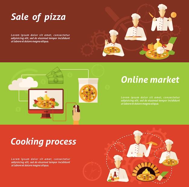Venda de pizza e banner de cozinha