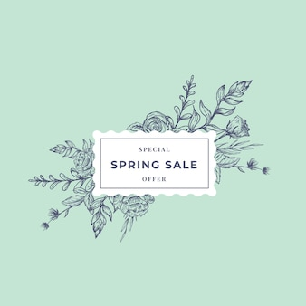 Venda de primavera abstrata botânica banner ou rótulo com moldura floral ractangle.