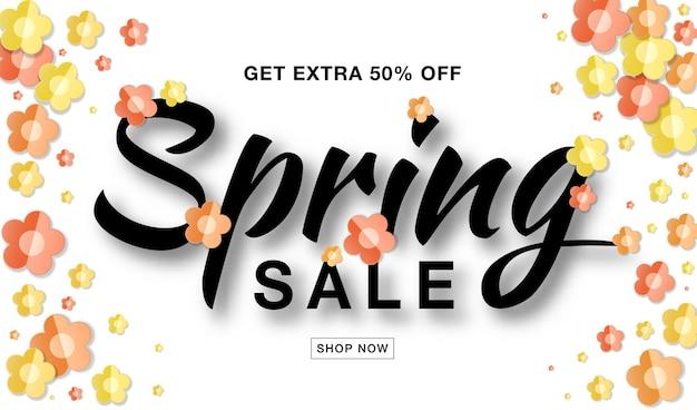 Venda de primavera banner fundo branco com flores de papel colorido amarelo, vermelho e laranja.