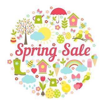 Venda de primavera circular decorativa com um desenho vetorial movimentado representando os favoritos simbólicos da primavera, a páscoa e o clima em cores pastel frescas para marketing empresarial e publicidade em branco