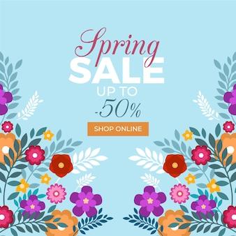 Venda de primavera colorida em design plano