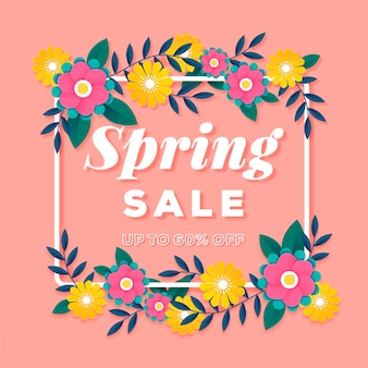 Venda de primavera colorida no banner de estilo de papel