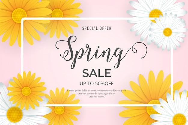 Venda de primavera com lindas flores amarelas e brancas
