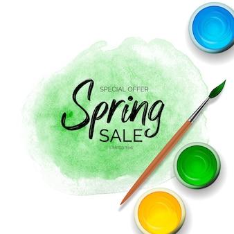 Venda de primavera com pinceladas de tinta verde, latas com guache, acrílico e pincel de madeira 3d realista.