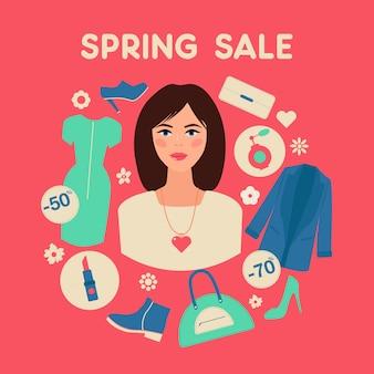 Venda de primavera comercial em design plano com mulher
