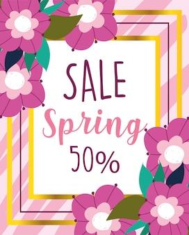 Venda de primavera, comércio disocunt banner de flores delicadas
