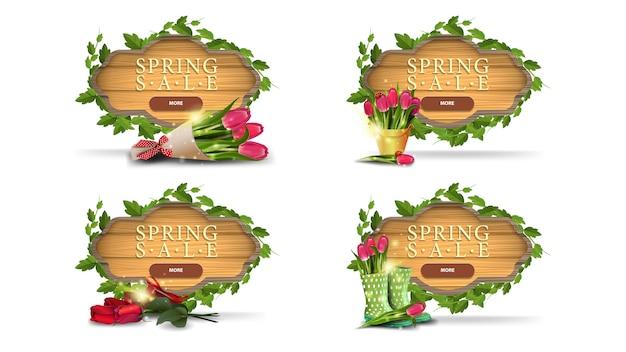 Venda de primavera, conjunto de banners de desconto marrom com um quadro de videiras e folhas em forma de placa de madeira, botões e flores