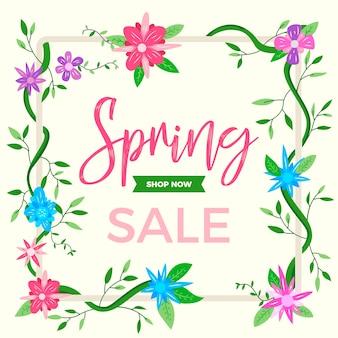 Venda de primavera de banner de design plano