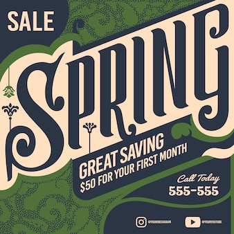 Venda de primavera de design plano grande banner de economia