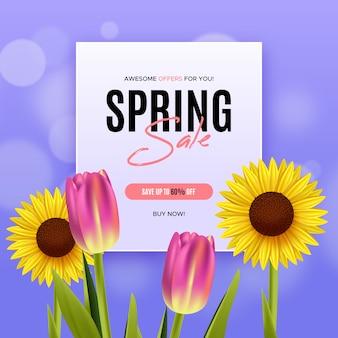 Venda de primavera de tulipas e girassóis