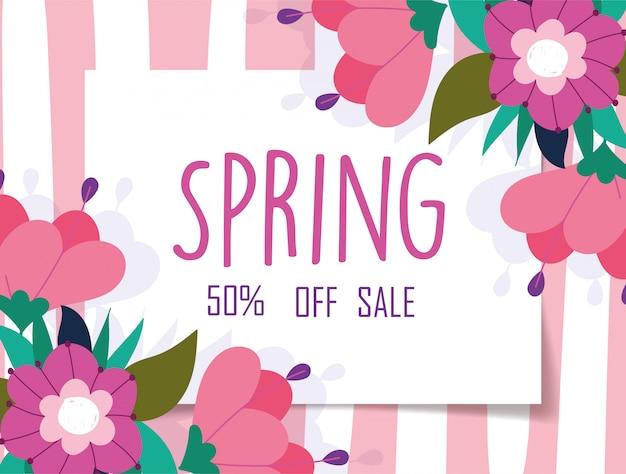 Venda de primavera, desconto banner de fundo listrado flores de marketing