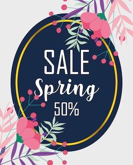 Venda de primavera, desconto percentual mercado temporada flores distintivo