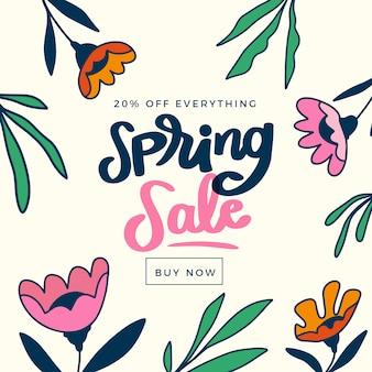 Venda de primavera desenhada de mão