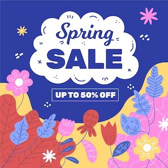 Venda de primavera design plano com flores coloridas