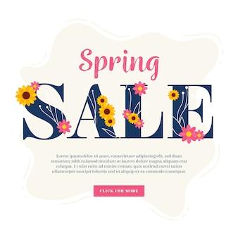 Venda de primavera design plano com oferta especial