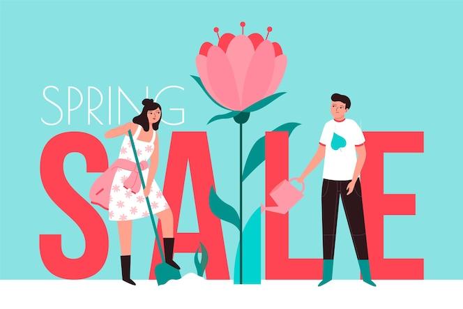Venda de primavera em design plano