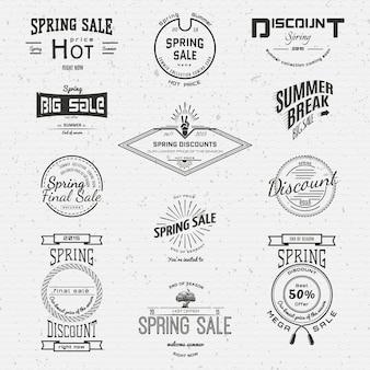 Venda de primavera emblemas logotipos e rótulos