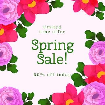 Venda de primavera floral aquarela oferece design