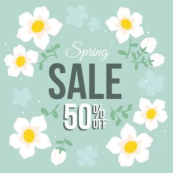 Venda de primavera floral desenhada mão oferece design