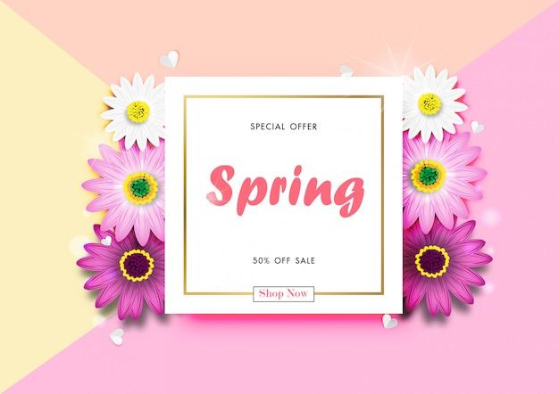 Venda de primavera fora fundo com daisy colorido flor flor design vector