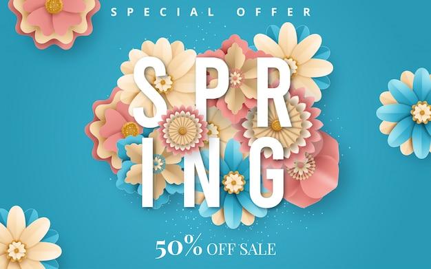 Venda de primavera. fundo brilhante publicidade com flores