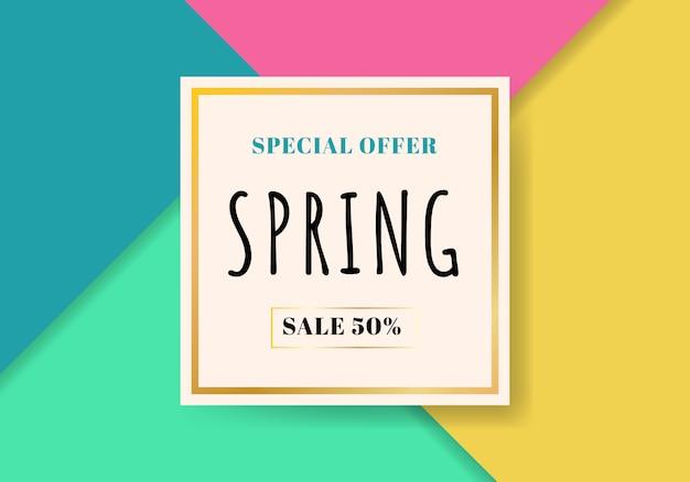 Venda de primavera modelo lindo fundo colorido