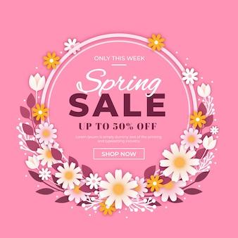 Venda de primavera promocional design plano