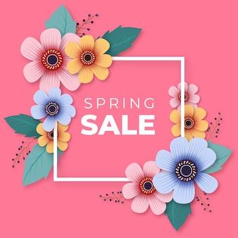Venda de primavera realista com flores e moldura