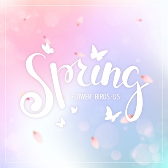 Venda de primavera turva com gradientes de cores e borboletas
