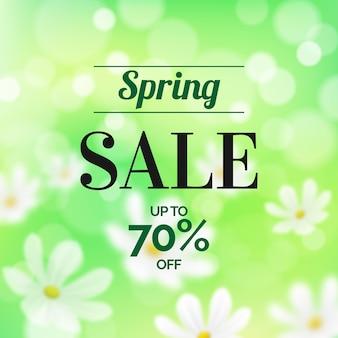 Venda de primavera turva com margaridas e oferta