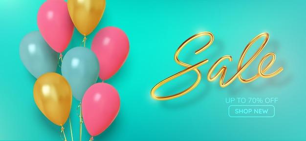 Venda de promoção com desconto feita de balões coloridos realistas