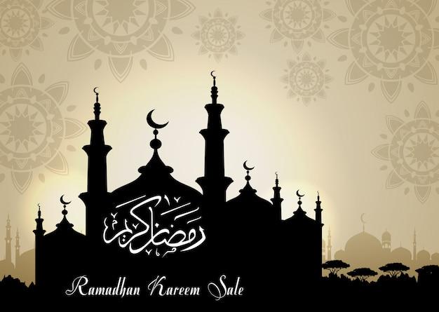 Venda de ramadan kareem com silhueta de mesquita à noite