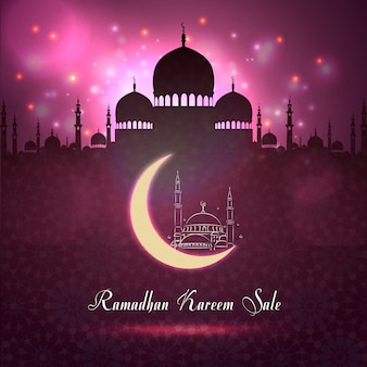 Venda de ramadan kareem com silhueta de mesquita no fundo da noite