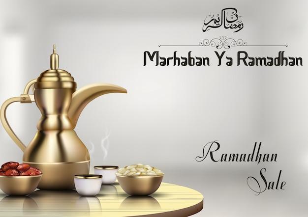 Venda de ramadhan com cafeteira tradicional e tigela de datas