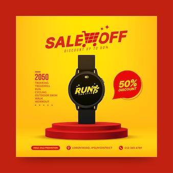 Venda de relógio inteligente no pódio vermelho para suporte de pedestal de mídia social para apresentação de produto