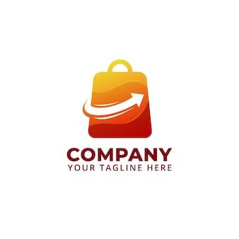 Venda de sacolas de compras com o logotipo do símbolo de aumento de seta para cima