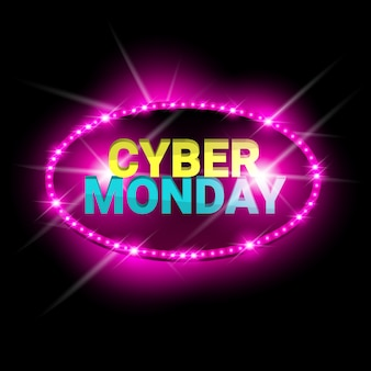 Venda de segunda-feira cyber design brilhante de néon banner
