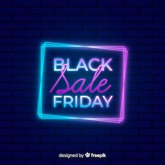 Venda de sexta-feira colorida neon preto