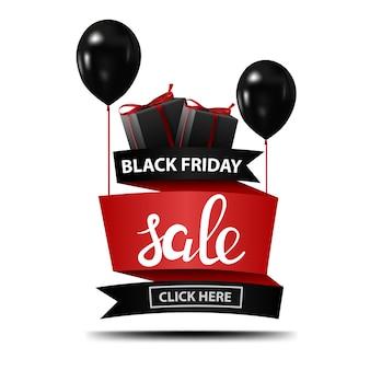 Venda de sexta-feira negra. banner com balões pretos e presentes