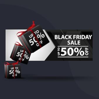 Venda de sexta-feira negra. banner com presentes