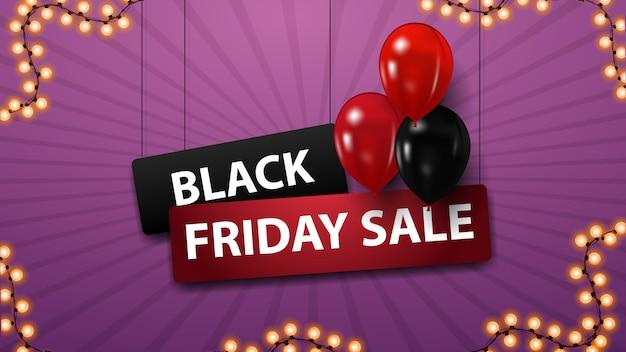 Venda de sexta-feira negra, banner de desconto com balões vermelhos e pretos