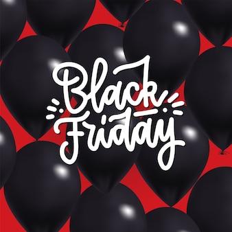 Venda de sexta-feira negra com balões brilhantes e letras de texto escrito à mão.