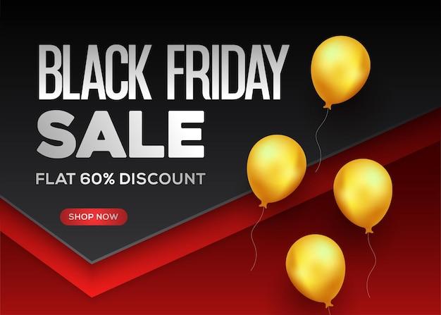 Venda de sexta-feira negra com balões dourados em fundo preto e vermelho