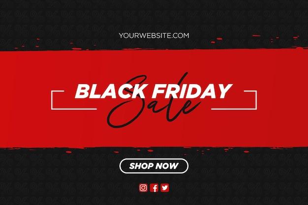 Venda de sexta-feira negra com fundo de pincel vermelho