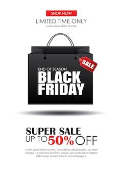 Venda de sexta-feira negra com modelo de folheto de saco de compras.