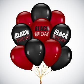 Venda de sexta-feira negra com monte realista balões de preto e vermelho